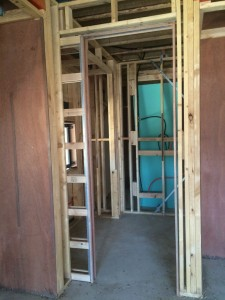 Sliding door frame in