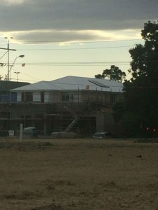 View of our house from the estate across the road